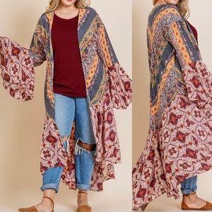 BoHo Kimono Patchwork Plus Size XL Cardigan Bell
